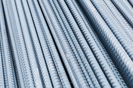 New steel rods close up for construction photo