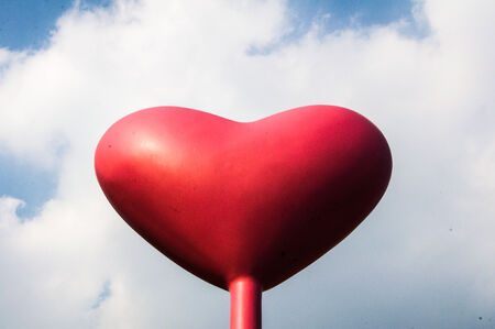 Red love Heart Balloon in Vintage Blue Sky  photo