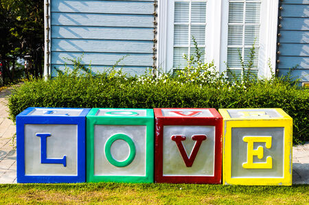 Love message written in colorful blocks photo