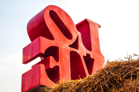 Love message statue on the straw photo