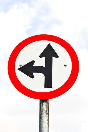 Go ahead and Left turn road sign  photo