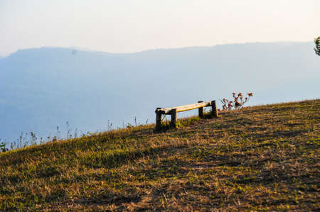 Bamboo bench on top of the mountain, Thailand photo