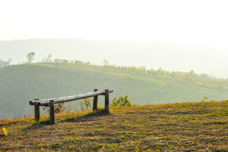 Bamboo bench on top of the mountain in Thailand photo