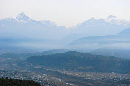 apogee: Pokhara city and snow mountain backgroundNepal