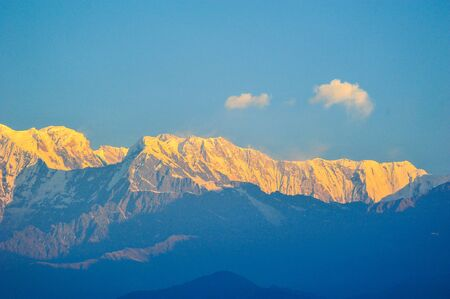apogee: Colorful top of the mountains in Pokhara,Nepal