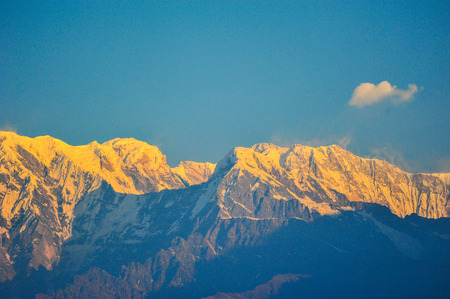 pokhara: Colorful on the big snow mountain in Pokhara,Nepal Stock Photo