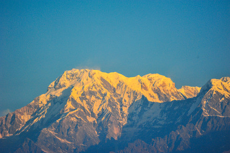 apogee: View top of the snow mountain in Nepal