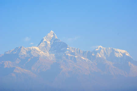 apogee: Sunlight effect on top of  the big snow mountains in Pokhara,Nepal