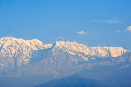 apogee: Big white snow mountains in Pokhara,Nepal