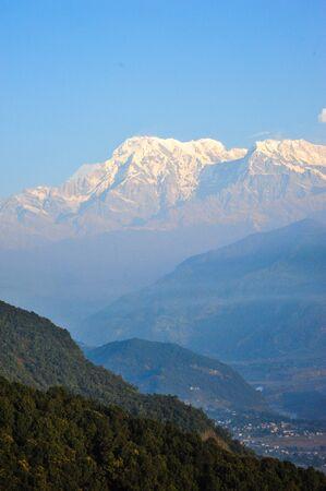 apogee: Pokhara city and the big snow mountains in Pokhara,Nepal Stock Photo