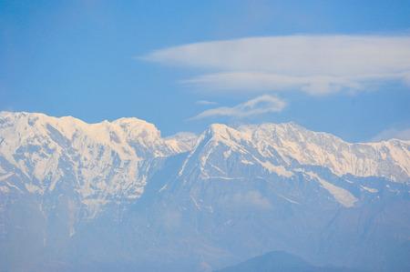 apogee: Big white snow mountains and cloud in Pokhara,Nepal Stock Photo