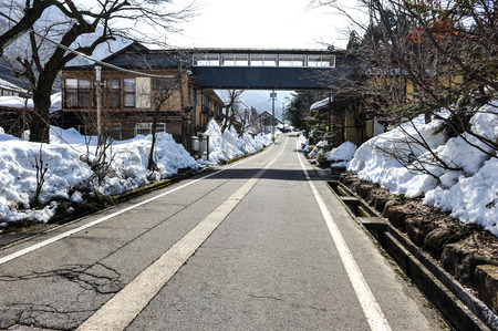 sideway: Local road and snow on the sideway in Japan Stock Photo