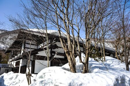 ancient japanese: Ancient japanese house and snow