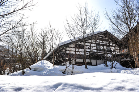 ancient japanese: Ancient japanese house and white garth snow