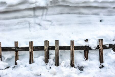 Old bamboo fence in winter,Japan Stock Photo