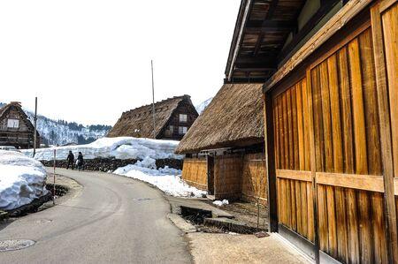 shirakawa go: Street and snow in the Shirakawa Go village  in Japan