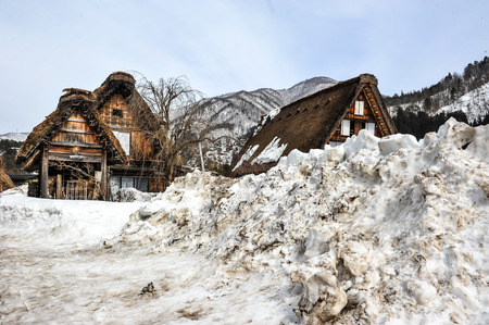 natural backgrounds: Beautiful old wooden house and big snow in Shirakawa Go village