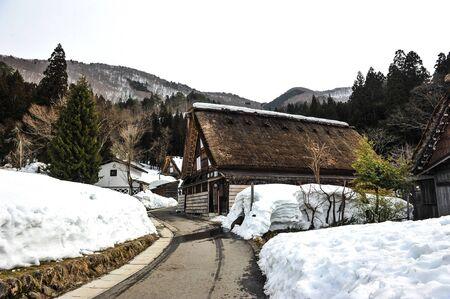 shirakawa go: Ancient wooden house in Shirakawa Go village,World heritage of Japan Editorial