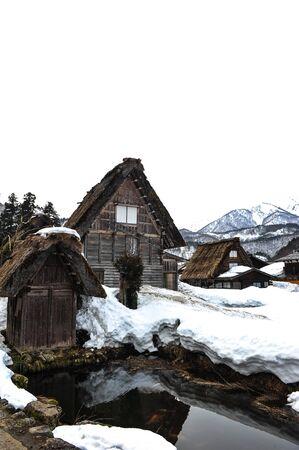shrinkage: Ancient house village in winter season at Japan