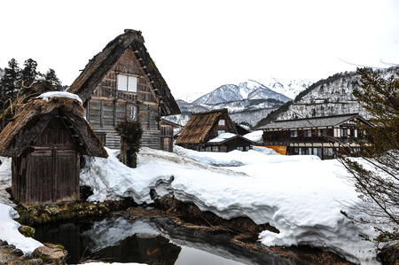 shrinkage: Ancient house village in snow at Japan Stock Photo