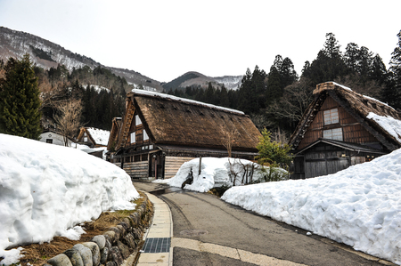 shrinkage: Road to acient house in Shirakawa-go village,Japan