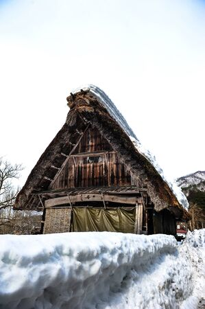 shirakawa go: White snow and acient house in Shirakawa Go village,Japan