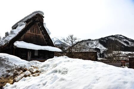 gabled houses: White snow on the top of roof house in Japan