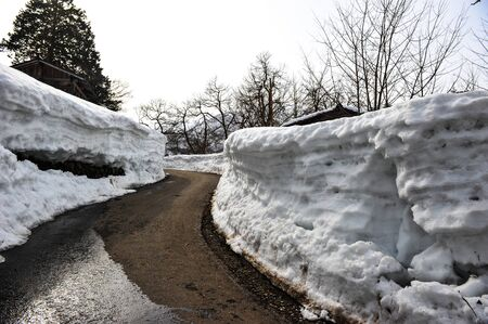 shrinkage: The road curved side walls of snow