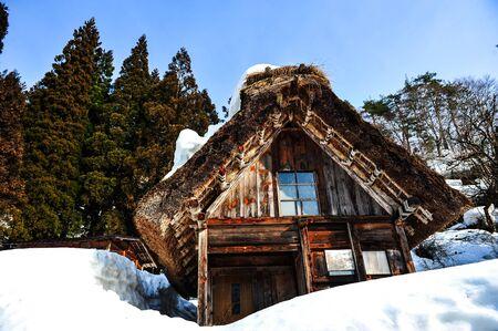 shirakawa go: Old wooden house japanese style in winter at Shirakawa Go village