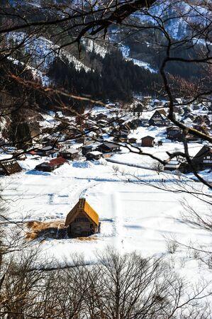 shirakawa go: Panorama view of World Heritage Shirakawa Go village Editorial