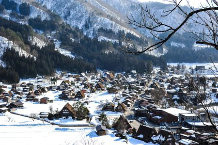 shirakawa go: Beautiful of Shirakawa Go village in winter snowy