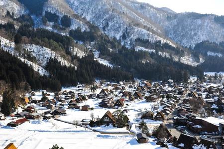 shirakawa go: Wide angle view of world heritage Shirakawa Go village in Japan