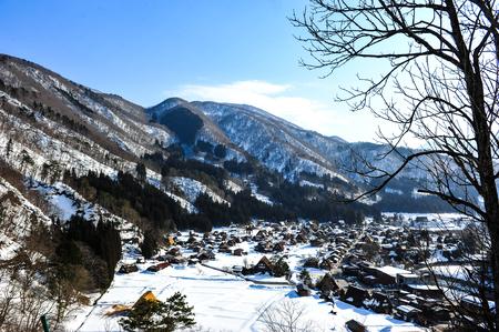 shirakawa go: Snowy mountain near Shirakawa Go village in Japan Editorial