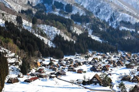 shirakawa go: Top view of Shirakawa go village Editorial