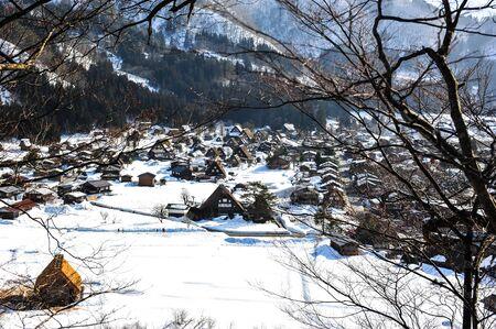 shirakawago: World heritage Shirakawa-go village in winter of Japan Editorial