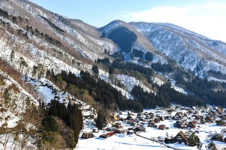 gassho zukuri: Beautiful panorama view of world heritage Shirakawa-go village Editorial