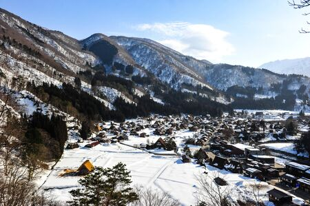 gassho zukuri: Panorama view of historic Shirakawa go village
