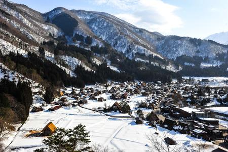 shirakawa go: Panorama view of  Shirakawa go village Editorial