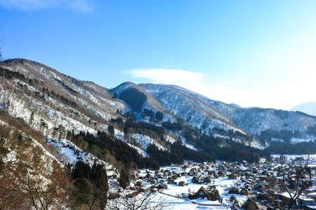 shirakawa go: Panoramic view of world heritage Shirakawa Go village on Japan