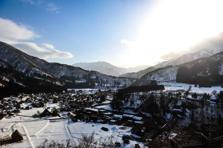 shirakawa go: Beautiful sunlight on the Shirakawa go village in Japan