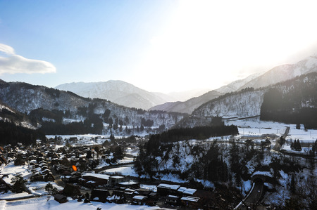 shirakawa go: Beautiful sunlight on the World Heritage Shirakawa go village in Japan Editorial