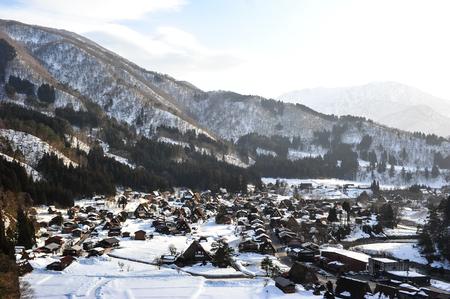 shirakawa go: Traditional village of Shirakawa Go village in winter, Japan Editorial