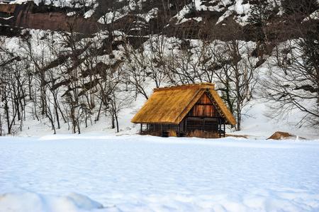 shrinkage: Beautiful old wooden house and garth snow in Shirakawa Go village ,Japan