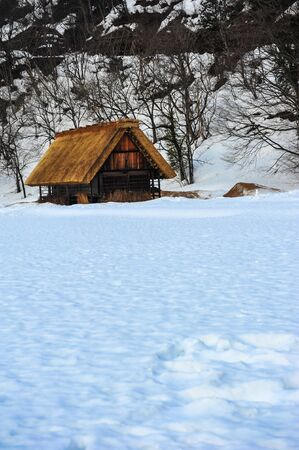 Old brawn wooden house on texture of snow Editorial