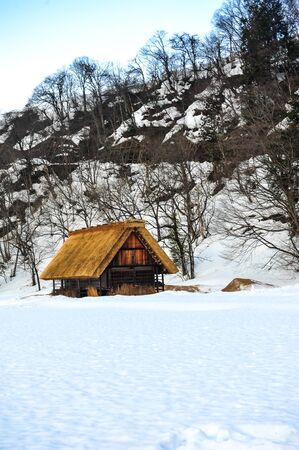 garth: Gassho-style wooden houses in garth snow of Japan