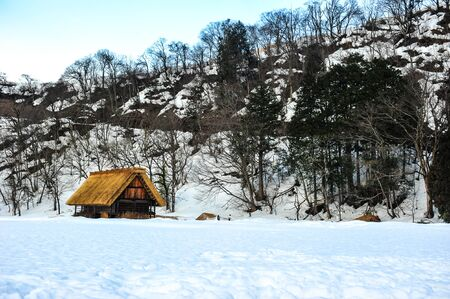 shrinkage: Landscape view of the remote mountain villages of gassho-style houses at Shirakawa-go in winter