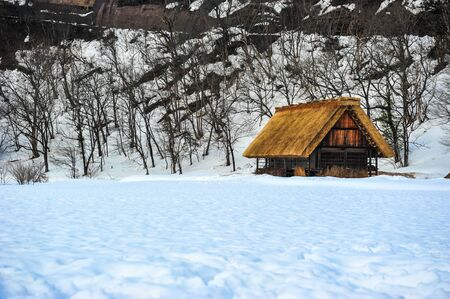 Gassho-style wooden houses in winter season of Japan
