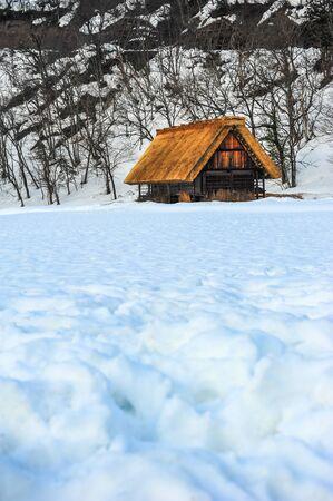 shrinkage: Gassho-style wooden houses at Shirakawa go village in winter Editorial