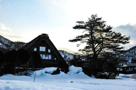 shrinkage: Silhouette of vintage house in Shirakawa Go village of Japan