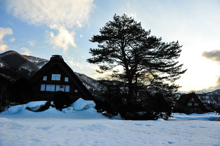 shrinkage: Silhouette of country village in Japan